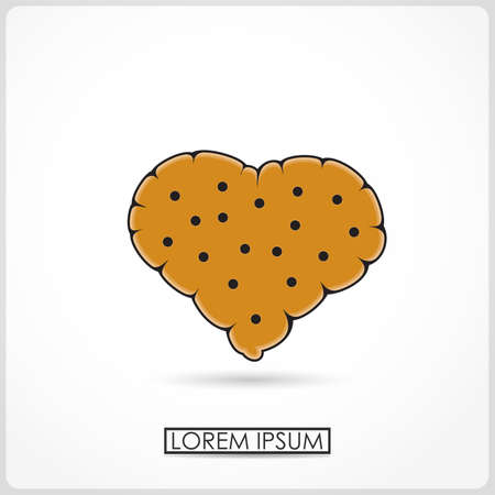 chocolate chip: Cartoon chocolate chip cookies isolated on white  vector Illustration