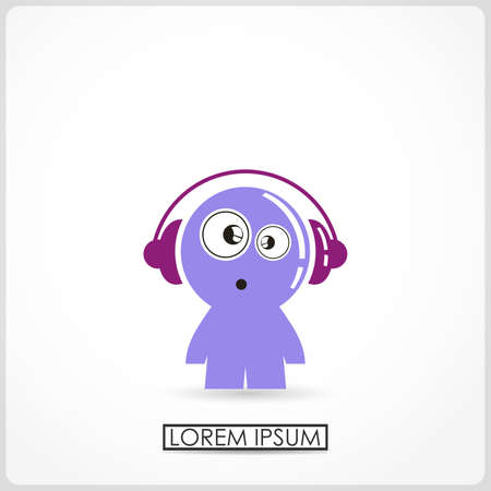 gender identity: Funny boy in headphones isolated on white  vector Illustration