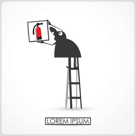 ladder safety: Character hangs a picture with fire extinguisher Illustration