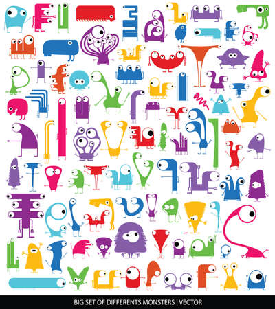 Big set of cute monsters isolated on white  vector Vector