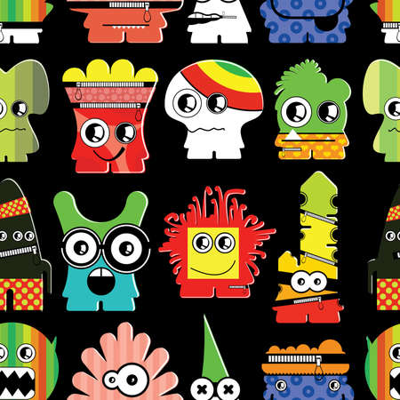 Cute monsters on black - seamless pattern Stock Vector - 22154076