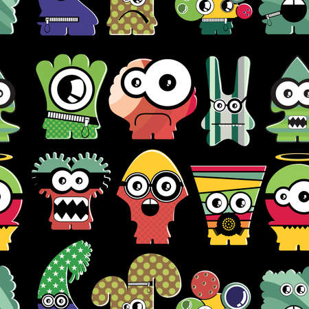 Cute monsters on black - seamless pattern Stock Vector - 22196222