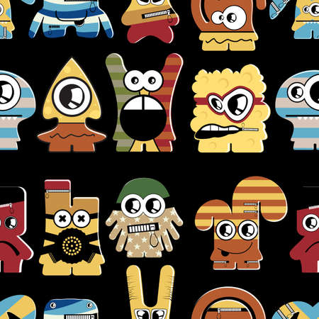 Cute monsters on black - seamless pattern Stock Vector - 22196232