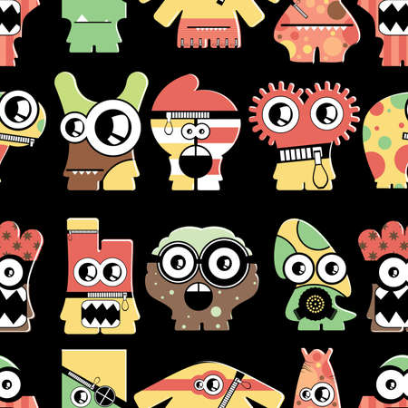 Cute monsters on black - seamless pattern Stock Vector - 22196242