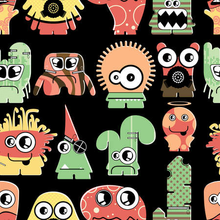 Cute monsters on black - seamless pattern Stock Vector - 22153751