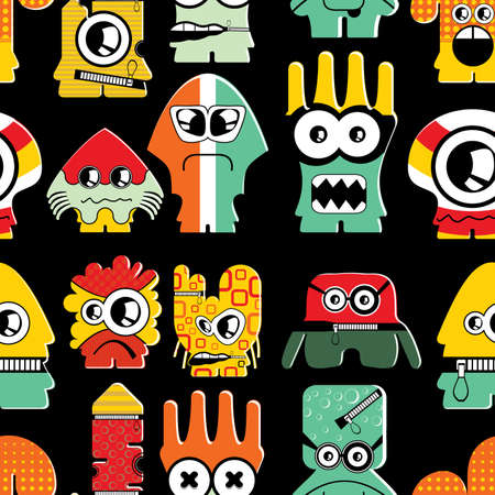 Cute monsters on black - seamless pattern Stock Vector - 22153755
