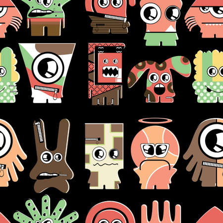 Cute monsters on black - seamless pattern Stock Vector - 22153754