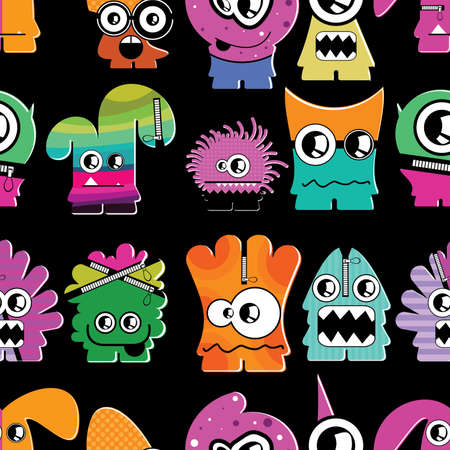Cute monsters on black - seamless pattern Stock Vector - 22153757