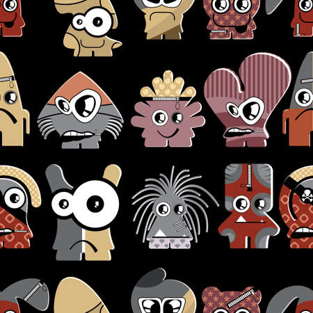 Cute monsters on black - seamless pattern Stock Vector - 22153756