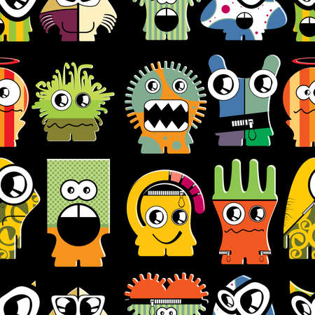 Cute monsters on black - seamless pattern Stock Vector - 22153759