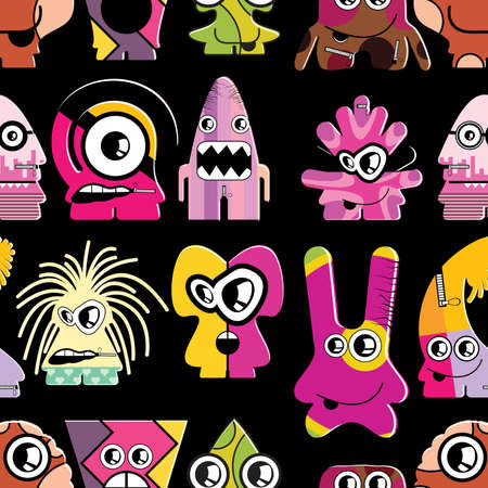 Cute monsters on black - seamless pattern Stock Vector - 22153758