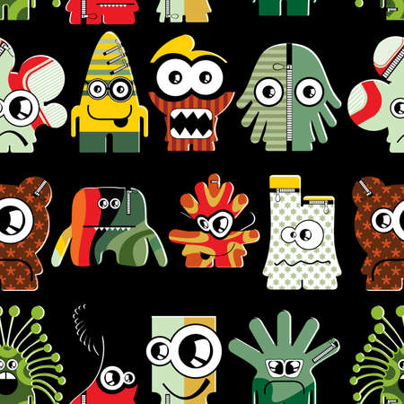 Cute monsters on black - seamless pattern Stock Vector - 22153760