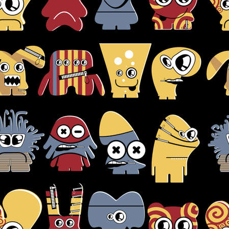 Cute monsters on black - seamless pattern Stock Vector - 22153763