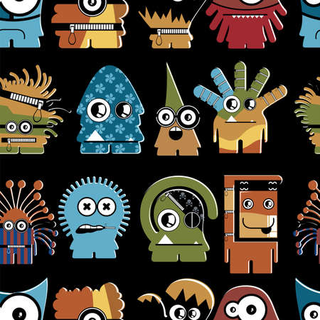 Cute monsters on black - seamless pattern Stock Vector - 22153764