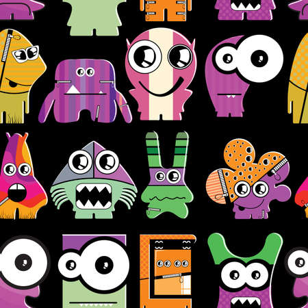 Cute monsters on black - seamless pattern Stock Vector - 22153765