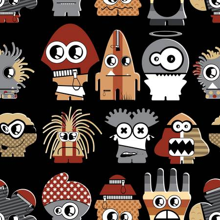 Cute monsters on black - seamless pattern Stock Vector - 22153767