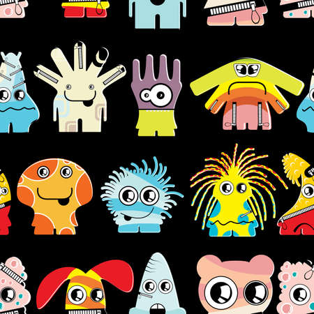 Cute monsters on black - seamless pattern Stock Vector - 22153768