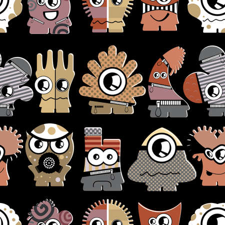 Cute monsters on black - seamless pattern Stock Vector - 22153769