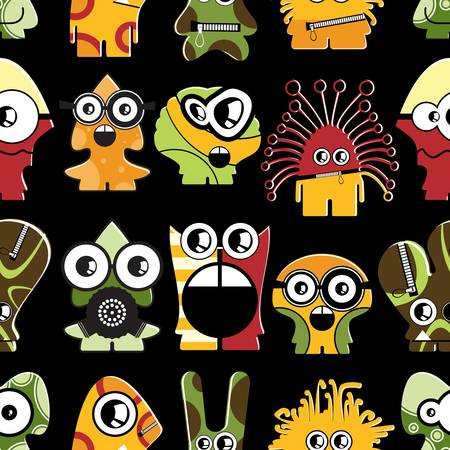 Cute monsters on black - seamless pattern Stock Vector - 22153771