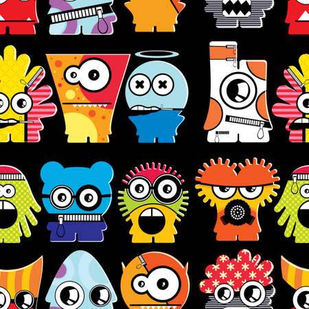 Cute monsters on black - seamless pattern Stock Vector - 22153770