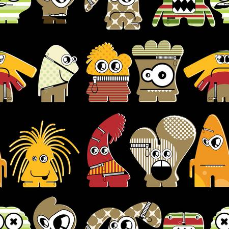 Cute monsters on black - seamless pattern Stock Vector - 22153772