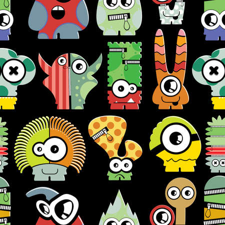 Cute monsters on black - seamless pattern Vector