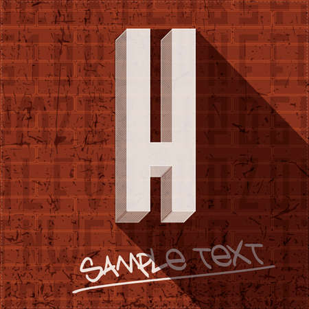Stylish letter H, on grunge brick wall Vector