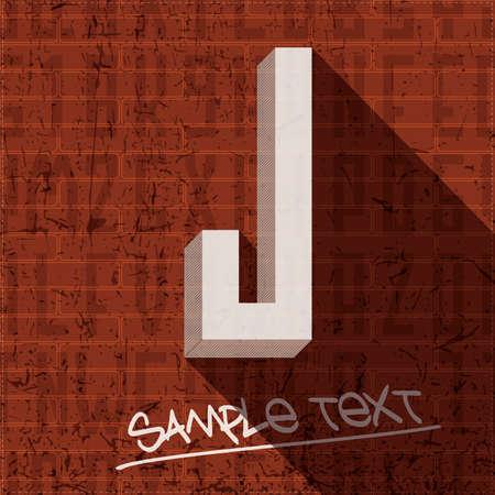 letter j: Stylish letter J, on grunge brick wall