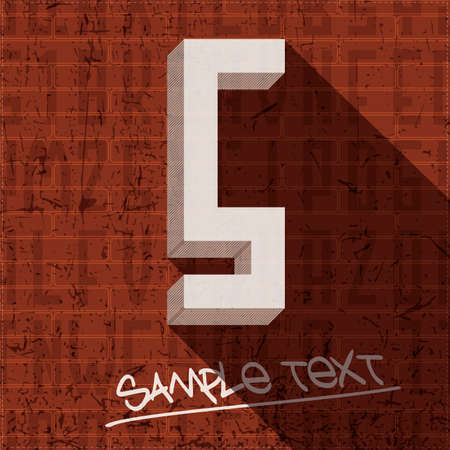 Stylish letter S, on grunge brick wall Vector