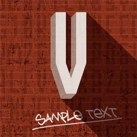 Stylish letter V, on grunge brick wall Vector