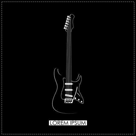 Stylish white guitar on black  vector Vector