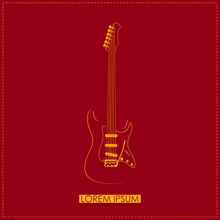 instrumental: Stylish orange guitar on red  vector