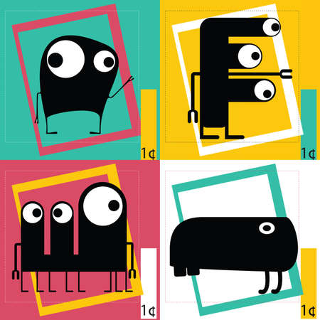 4 of a kind: Monsters - vector set