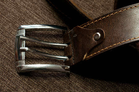 stitched: brown leather belt Stock Photo