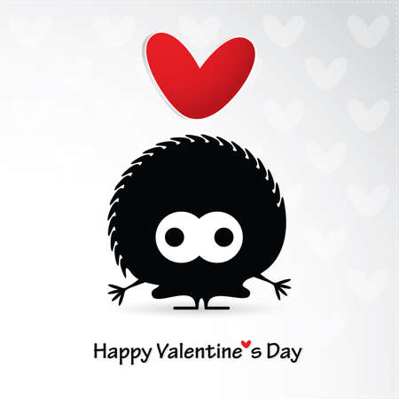 love cartoon: Cute monster with heart