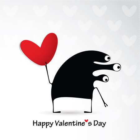 Cute monster with heart Vector