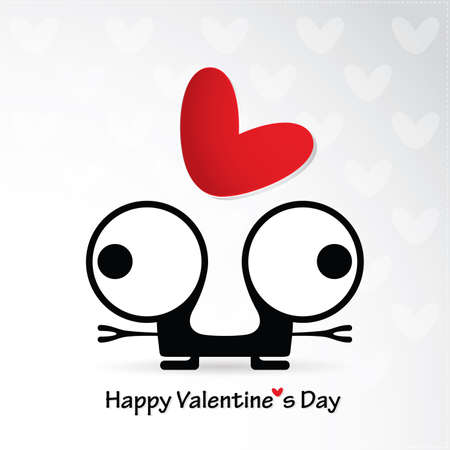 Cute monster with heart Stock Vector - 22348817