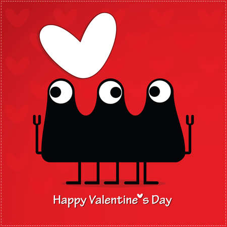 Cute monster with heart Stock Vector - 22348862