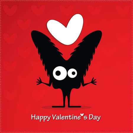 Cute monster with heart Stock Vector - 22348880