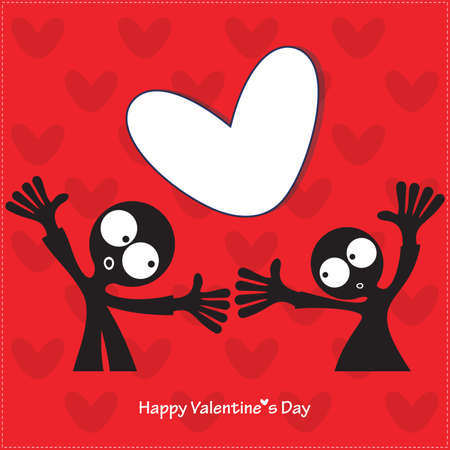 Couple in love  valentine s day card Vector