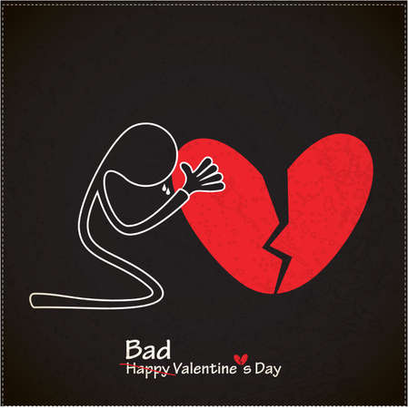broken heart: A character with broken Heart  Valentine s day card  vector