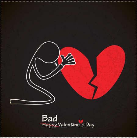 corazon roto: Un personaje con el vector de la tarjeta del d�a de San Valent�n del coraz�n quebrado s