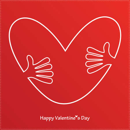 Hands holding a heart  Valentine s day card  vector Vector
