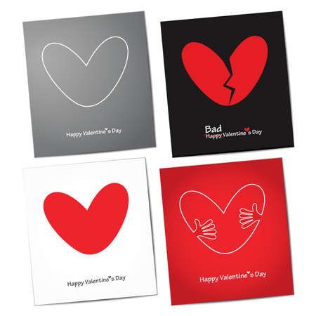 amur: Set of four Valentine s Day card  vector