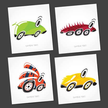 4 door: Set of four monsters cars