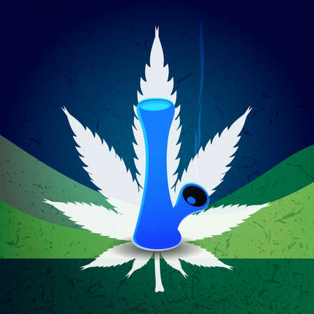 cannabis: A blue bong with smoke and cannabis leaf