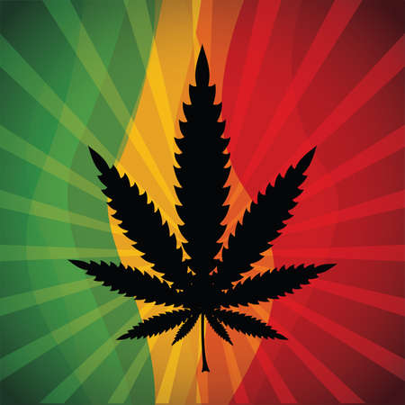 Marijuana leaf at abstract background Vector