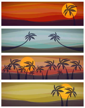 Set of four tropical resorts view  Vector illustration Vector