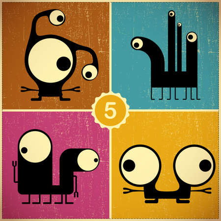 Set of four monsters at retro grunge background Stock Vector - 22653442