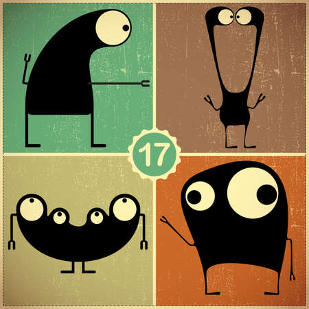 Set of four monsters at retro grunge background Stock Vector - 22653583